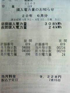 6月分の電気料金